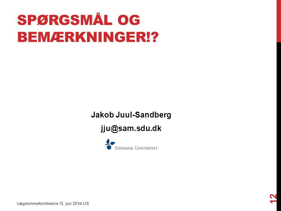 SPØRGSMÅL OG BEMÆRKNINGER!. Jakob Juul-Sandberg jju@sam.sdu.dk Lægdommerkonference 12.