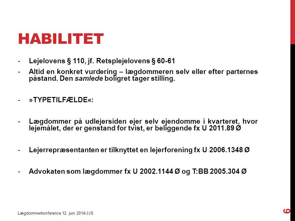 HABILITET Lægdommerkonference 12. juni 2014/JJS 6 -Lejelovens § 110, jf.