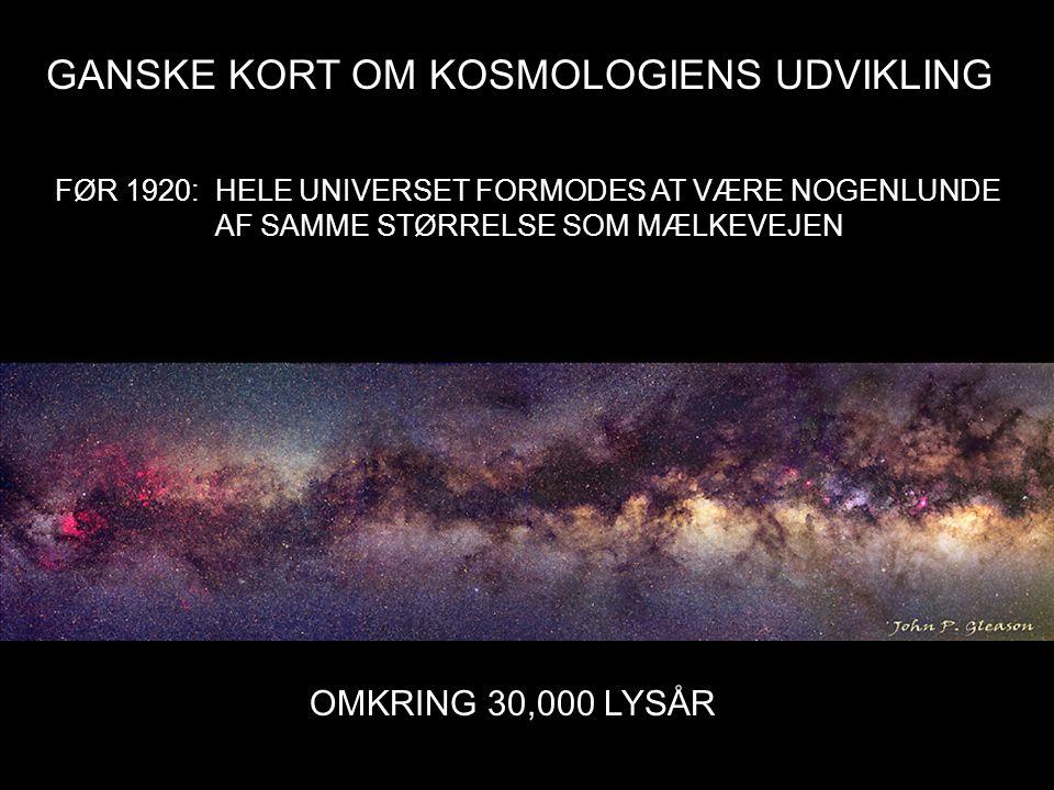 GANSKE KORT OM KOSMOLOGIENS UDVIKLING FØR 1920: HELE UNIVERSET FORMODES AT VÆRE NOGENLUNDE AF SAMME STØRRELSE SOM MÆLKEVEJEN OMKRING 30,000 LYSÅR