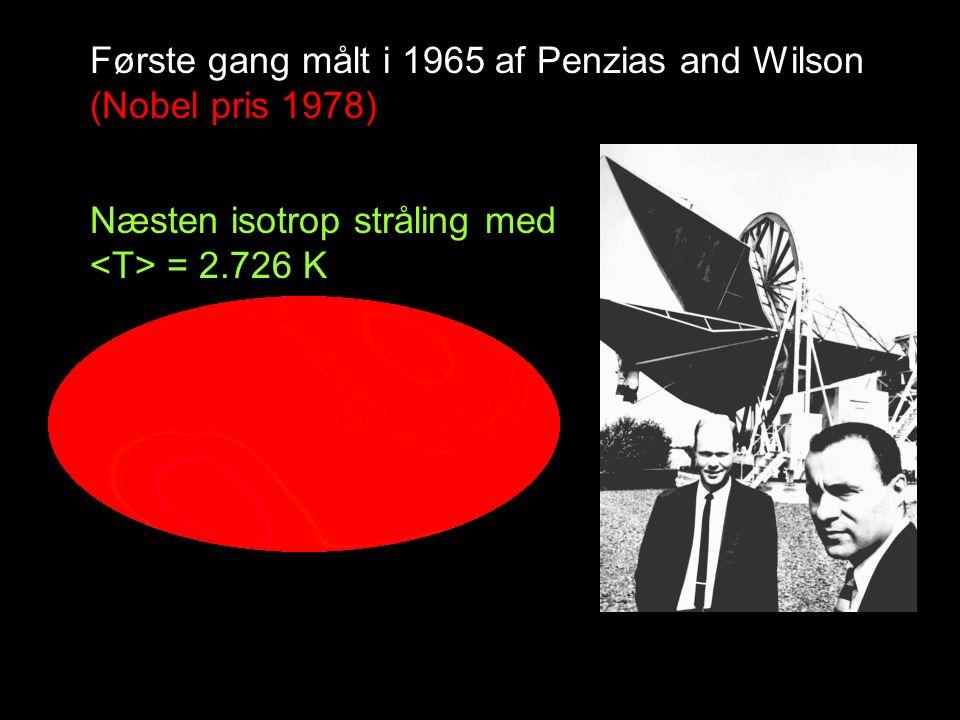 Første gang målt i 1965 af Penzias and Wilson (Nobel pris 1978) Næsten isotrop stråling med = 2.726 K