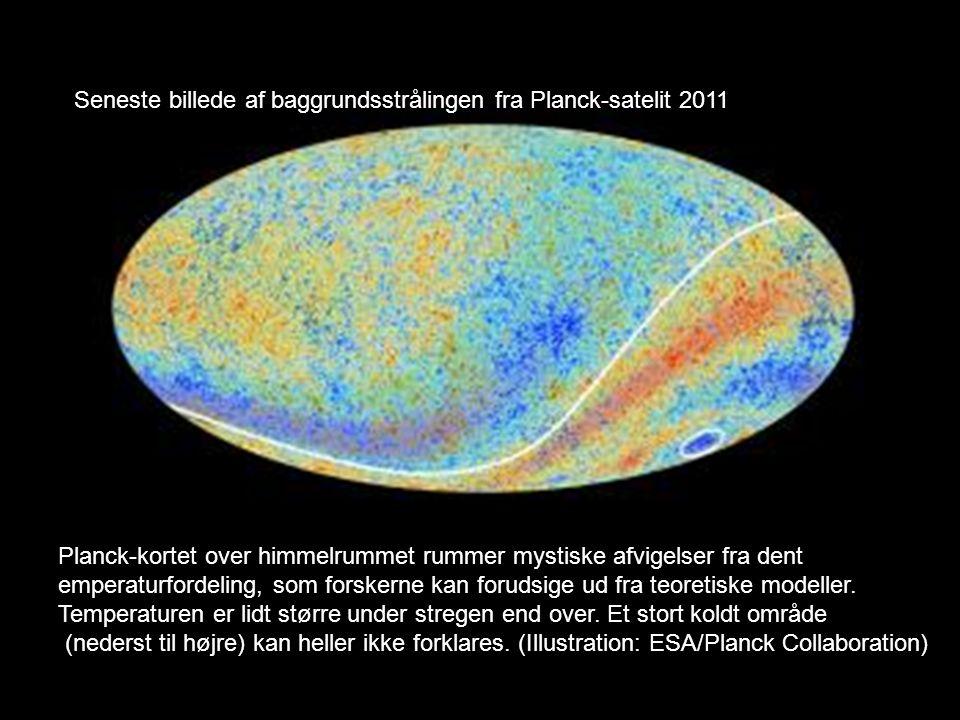 Seneste billede af baggrundsstrålingen fra Planck-satelit 2011 Planck-kortet over himmelrummet rummer mystiske afvigelser fra dent emperaturfordeling, som forskerne kan forudsige ud fra teoretiske modeller.