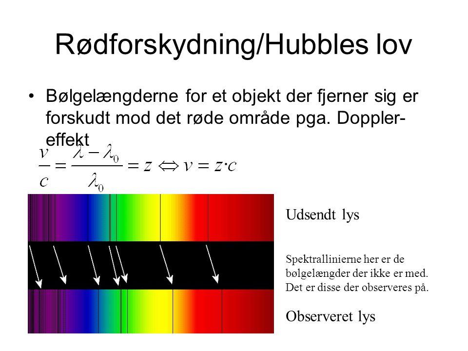 Rødforskydning/Hubbles lov Bølgelængderne for et objekt der fjerner sig er forskudt mod det røde område pga.
