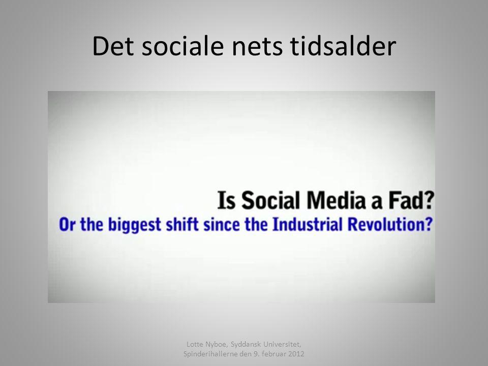 Det sociale nets tidsalder Lotte Nyboe, Syddansk Universitet, Spinderihallerne den 9. februar 2012
