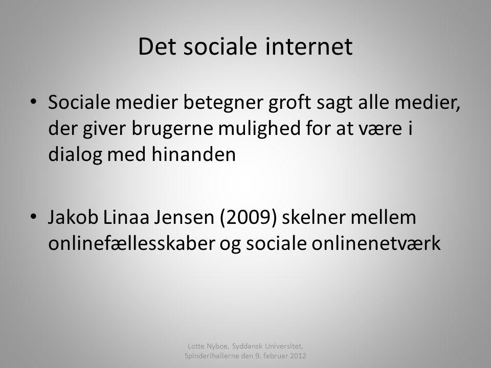 Det sociale internet Sociale medier betegner groft sagt alle medier, der giver brugerne mulighed for at være i dialog med hinanden Jakob Linaa Jensen (2009) skelner mellem onlinefællesskaber og sociale onlinenetværk Lotte Nyboe, Syddansk Universitet, Spinderihallerne den 9.