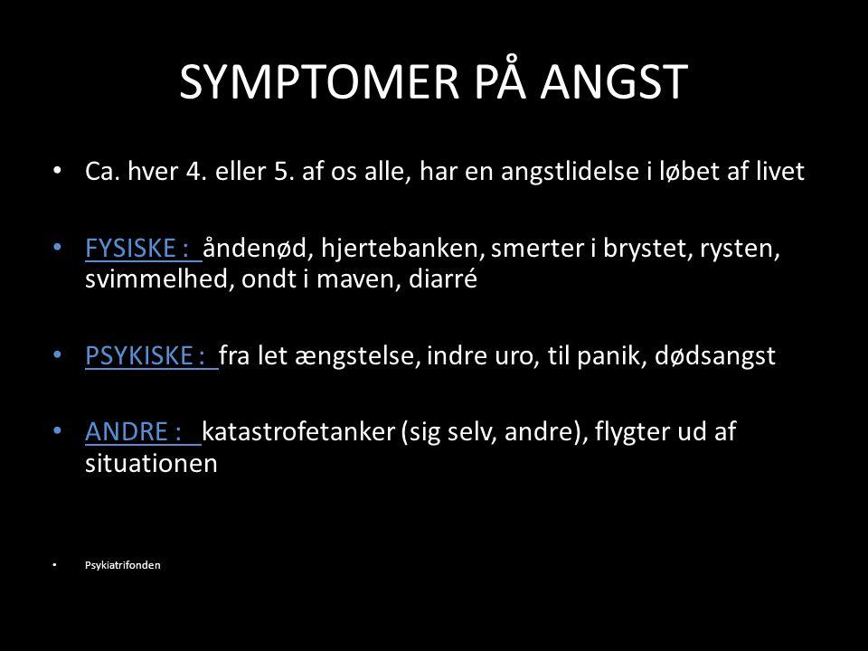 SYMPTOMER PÅ ANGST Ca. hver 4. eller 5.