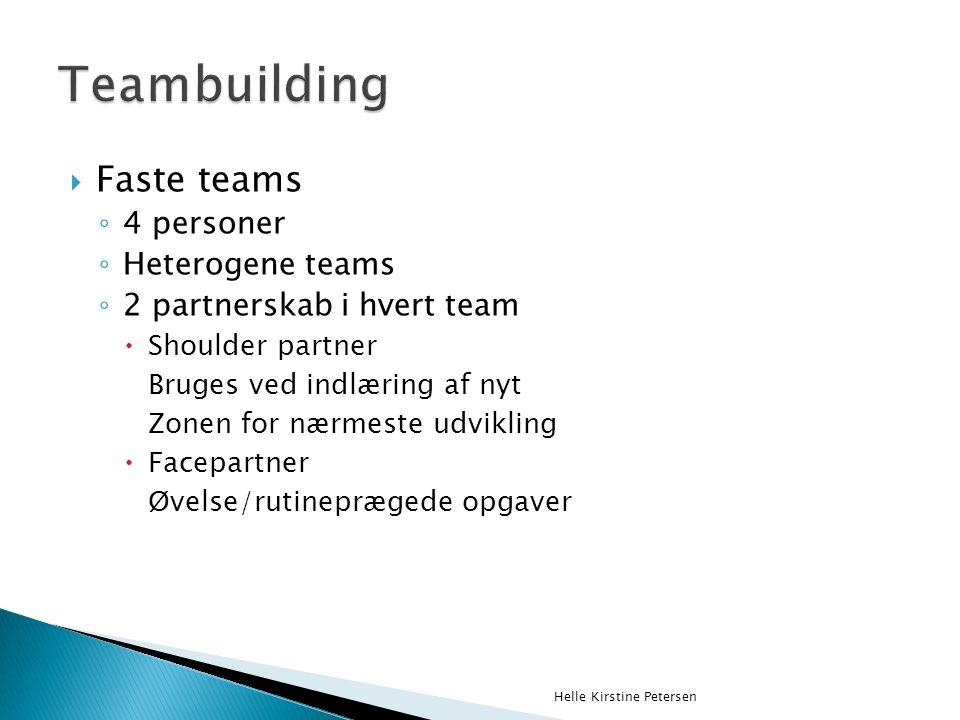  Faste teams ◦ 4 personer ◦ Heterogene teams ◦ 2 partnerskab i hvert team  Shoulder partner Bruges ved indlæring af nyt Zonen for nærmeste udvikling  Facepartner Øvelse/rutineprægede opgaver Helle Kirstine Petersen
