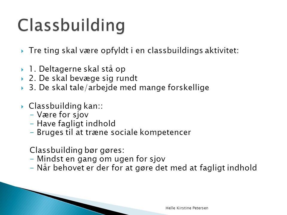  Tre ting skal være opfyldt i en classbuildings aktivitet:  1.