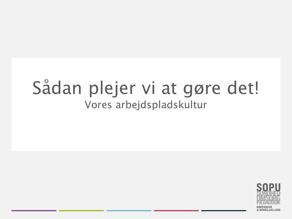 Skift farvedesign Gå til Design i Topmenuen Vælg dit farvedesign fra de seks SOPU-designs Vil du have flere farver, højreklik på farve- designet og vælg 'Applicér på valgte slides' Sådan plejer vi at gøre det.