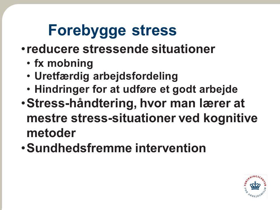 Forebygge stress reducere stressende situationer fx mobning Uretfærdig arbejdsfordeling Hindringer for at udføre et godt arbejde Stress-håndtering, hvor man lærer at mestre stress-situationer ved kognitive metoder Sundhedsfremme intervention
