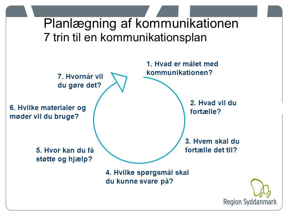 Planlægning af kommunikationen 7 trin til en kommunikationsplan 1.