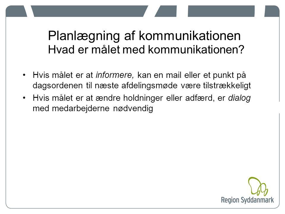 Planlægning af kommunikationen Hvad er målet med kommunikationen.