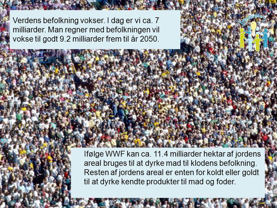 Verdens befolkning vokser. I dag er vi ca. 7 milliarder.