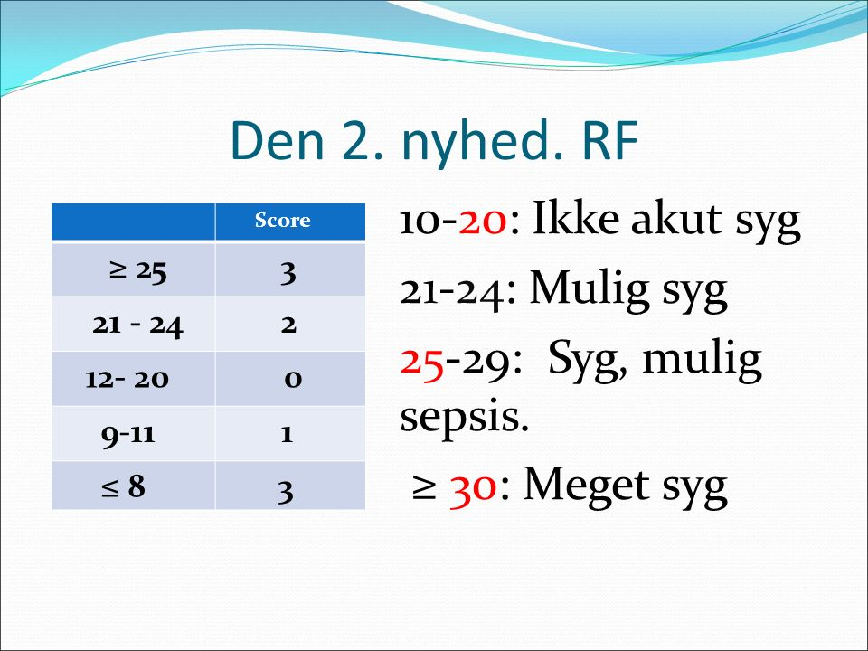 Den 2. nyhed. RF 10-20: Ikke akut syg 21-24: Mulig syg 25-29: Syg, mulig sepsis. ≥ 30: Meget syg Score ≥ 25 3 21 - 24 2 12- 20 0 9-11 1 ≤ 8 3