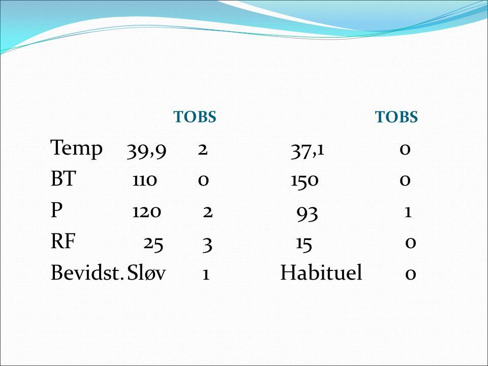 TOBS Temp39,9 2 BT 110 0 P 120 2 RF 25 3 Bevidst.Sløv 1 37,10 1500 93 1 15 0 Habituel 0