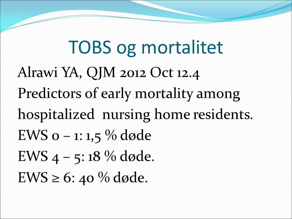 TOBS og mortalitet Alrawi YA, QJM 2012 Oct 12.4 Predictors of early mortality among hospitalized nursing home residents. EWS 0 – 1: 1,5 % døde EWS 4 –