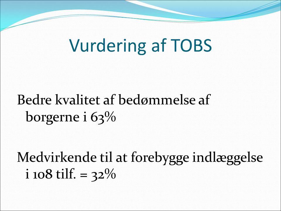 Vurdering af TOBS Bedre kvalitet af bedømmelse af borgerne i 63% Medvirkende til at forebygge indlæggelse i 108 tilf. = 32%