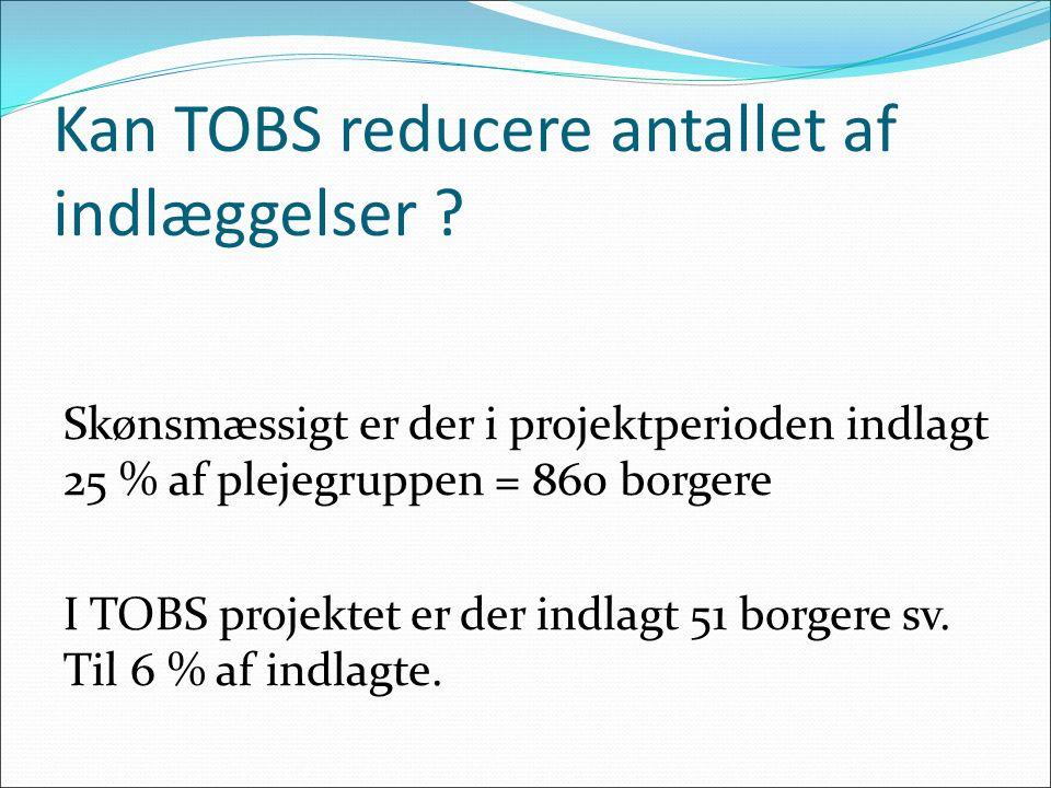 Kan TOBS reducere antallet af indlæggelser ? Skønsmæssigt er der i projektperioden indlagt 25 % af plejegruppen = 860 borgere I TOBS projektet er der