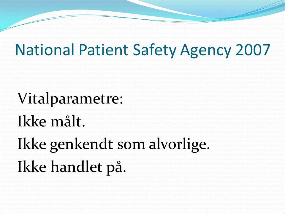 National Patient Safety Agency 2007 Vitalparametre: Ikke målt. Ikke genkendt som alvorlige. Ikke handlet på.