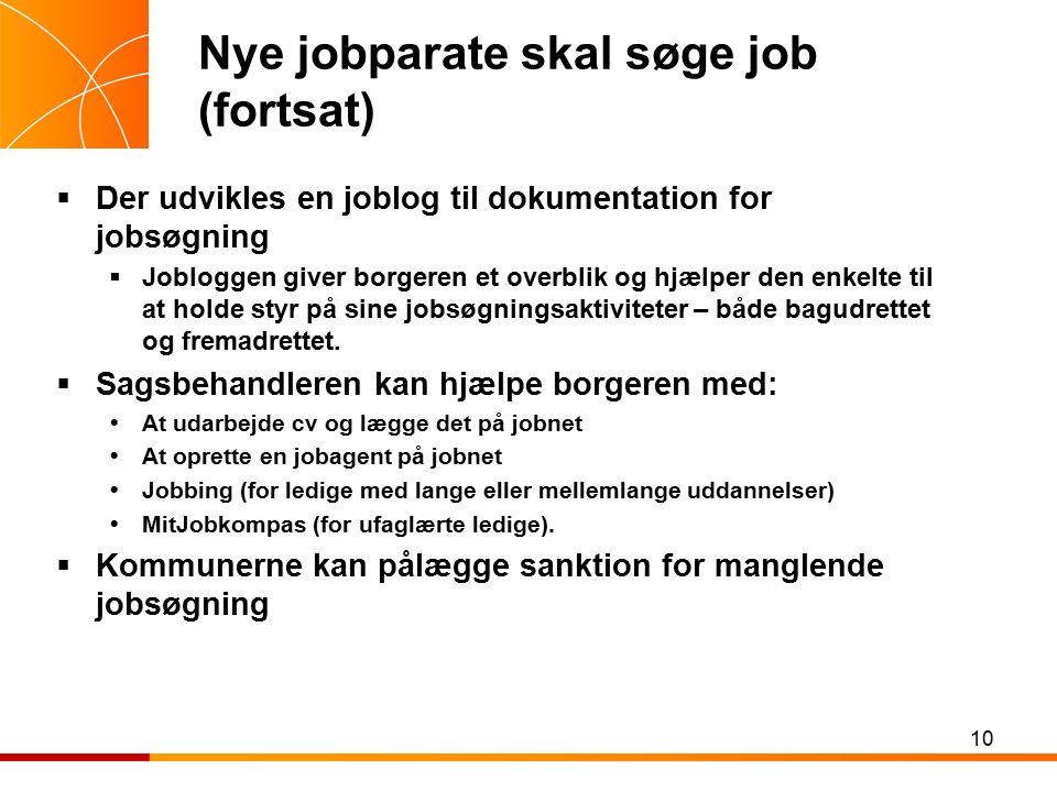 Nye jobparate skal søge job (fortsat)  Der udvikles en joblog til dokumentation for jobsøgning  Jobloggen giver borgeren et overblik og hjælper den enkelte til at holde styr på sine jobsøgningsaktiviteter – både bagudrettet og fremadrettet.