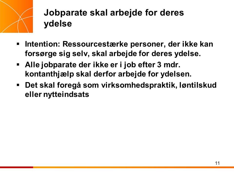 11 Jobparate skal arbejde for deres ydelse  Intention: Ressourcestærke personer, der ikke kan forsørge sig selv, skal arbejde for deres ydelse.