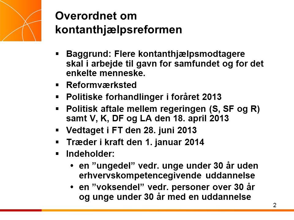 2 Overordnet om kontanthjælpsreformen  Baggrund: Flere kontanthjælpsmodtagere skal i arbejde til gavn for samfundet og for det enkelte menneske.