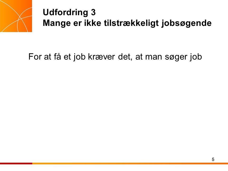 Udfordring 3 Mange er ikke tilstrækkeligt jobsøgende For at få et job kræver det, at man søger job 5