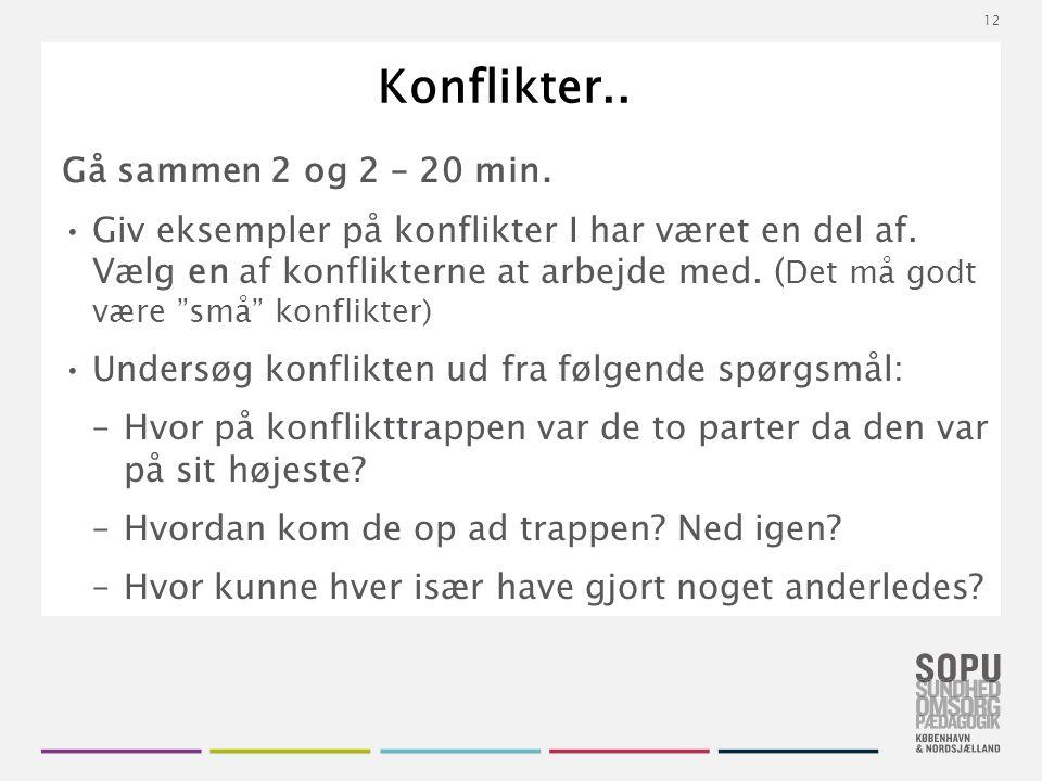 Tekstslide med bullets Brug 'Forøge / Formindske indryk' for at skifte mellem de forskellige niveauer Konflikter..