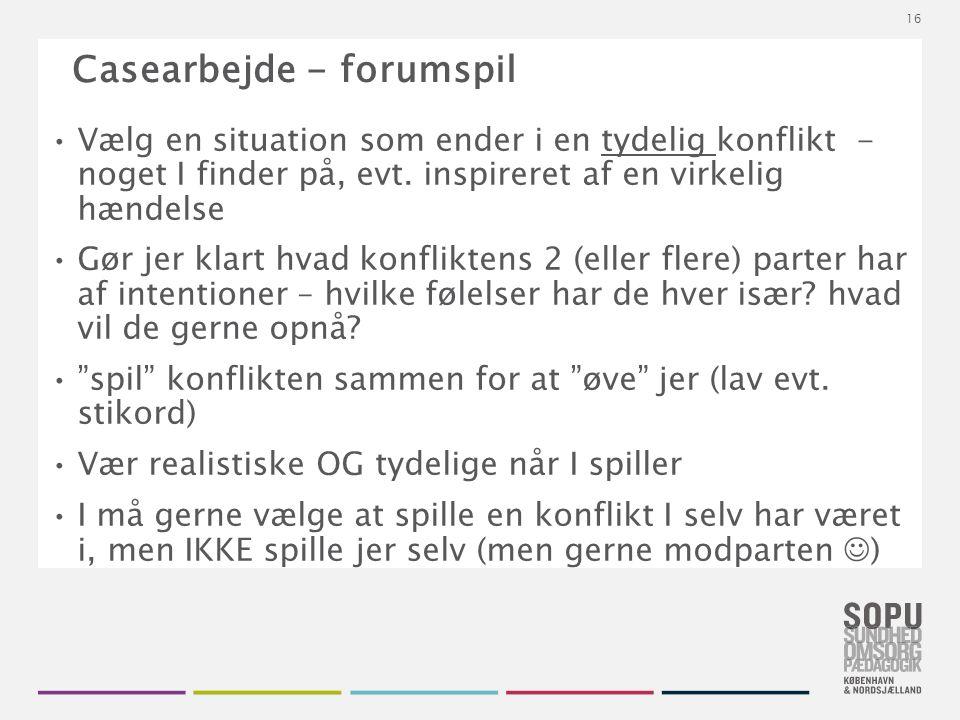Tekstslide med bullets Brug 'Forøge / Formindske indryk' for at skifte mellem de forskellige niveauer Casearbejde - forumspil Vælg en situation som ender i en tydelig konflikt - noget I finder på, evt.
