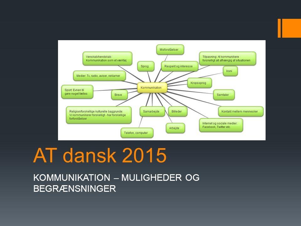 AT dansk 2015 KOMMUNIKATION – MULIGHEDER OG BEGRÆNSNINGER