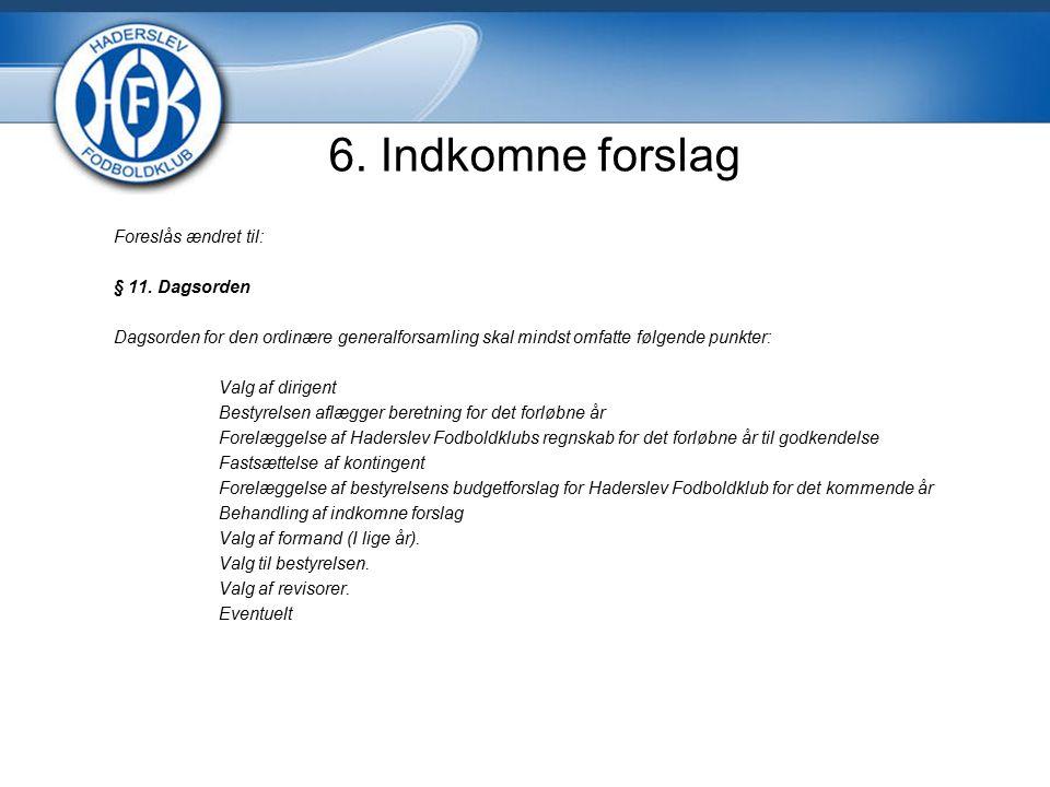 6. Indkomne forslag Foreslås ændret til: § 11.