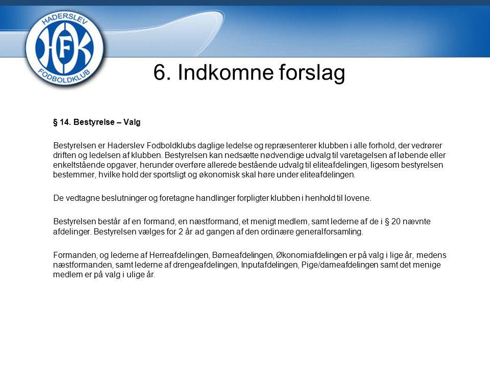 6. Indkomne forslag § 14.