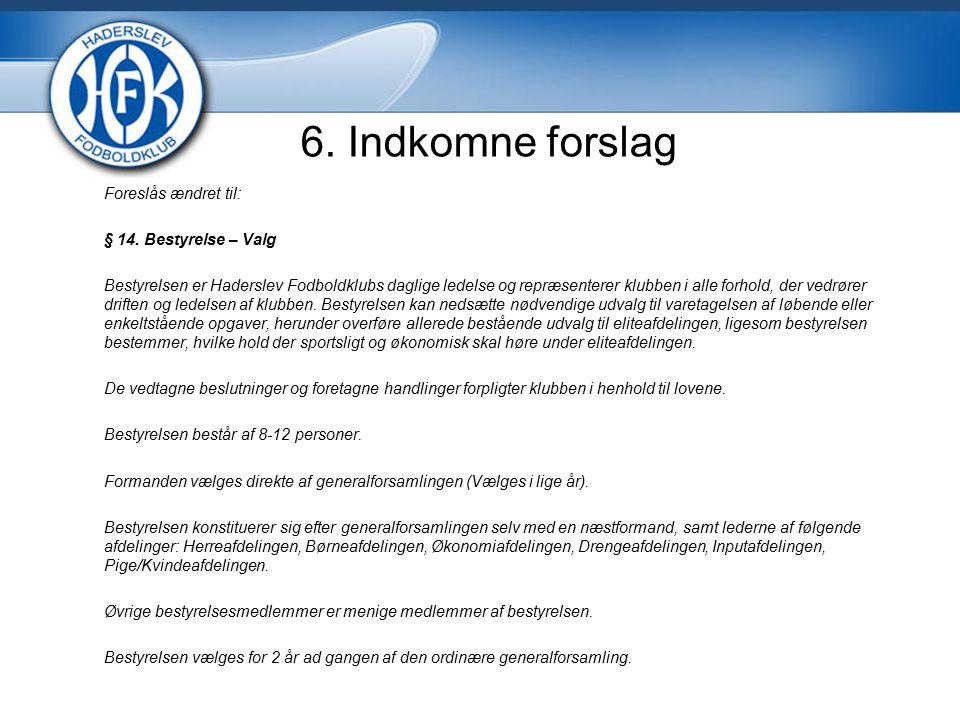 6. Indkomne forslag Foreslås ændret til: § 14.