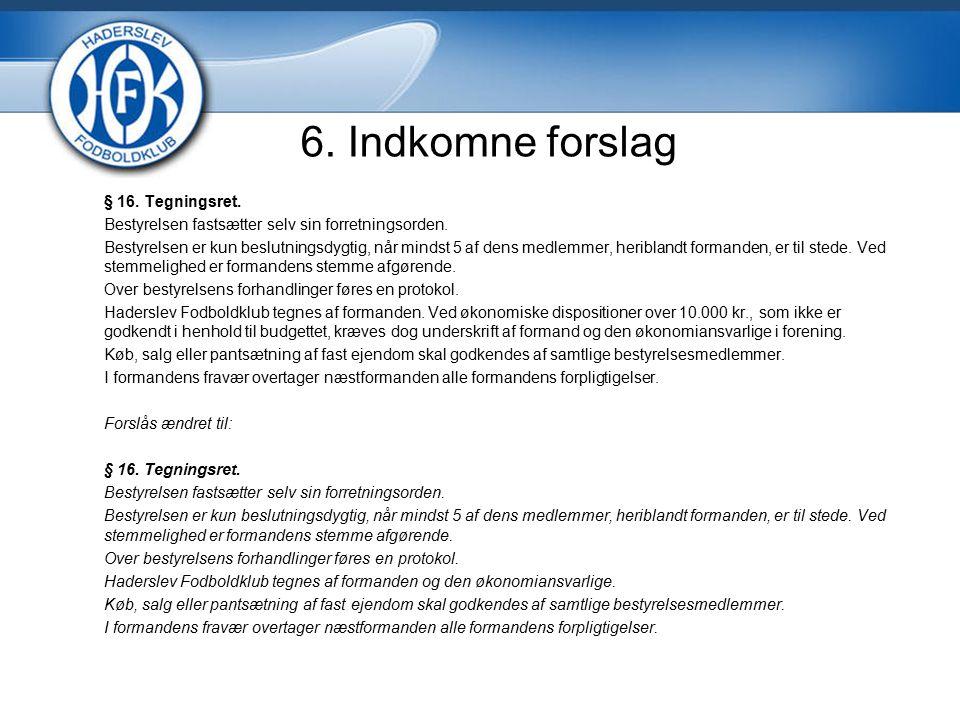 6. Indkomne forslag § 16. Tegningsret. Bestyrelsen fastsætter selv sin forretningsorden.