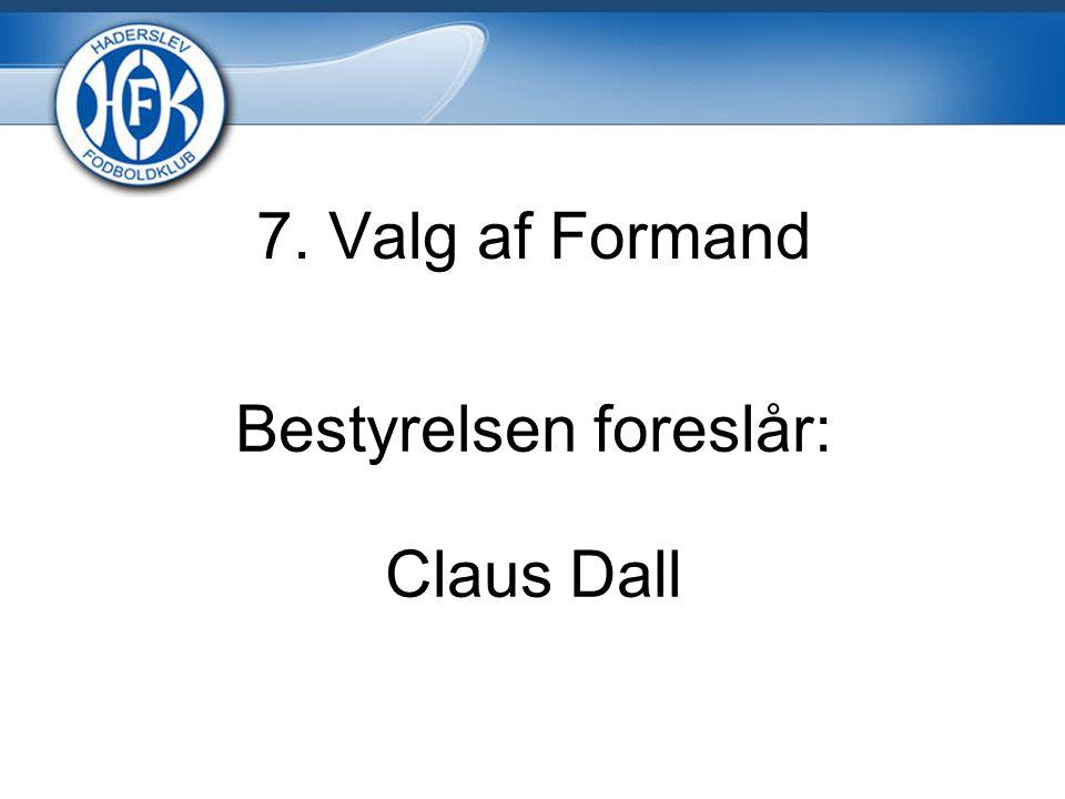 7. Valg af Formand Bestyrelsen foreslår: Claus Dall