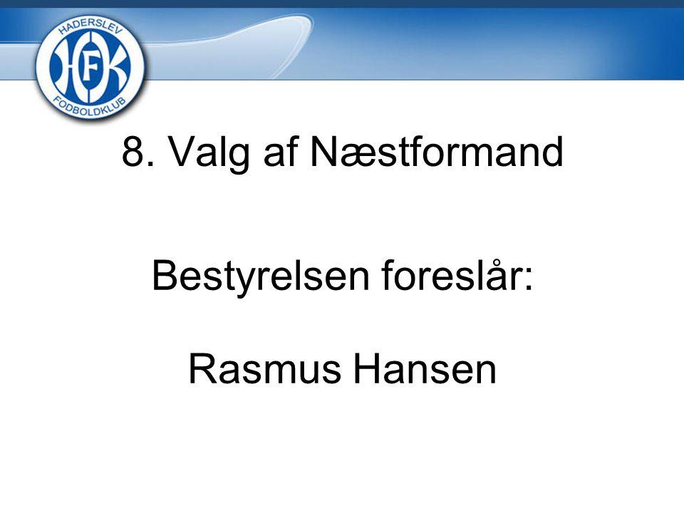 8. Valg af Næstformand Bestyrelsen foreslår: Rasmus Hansen