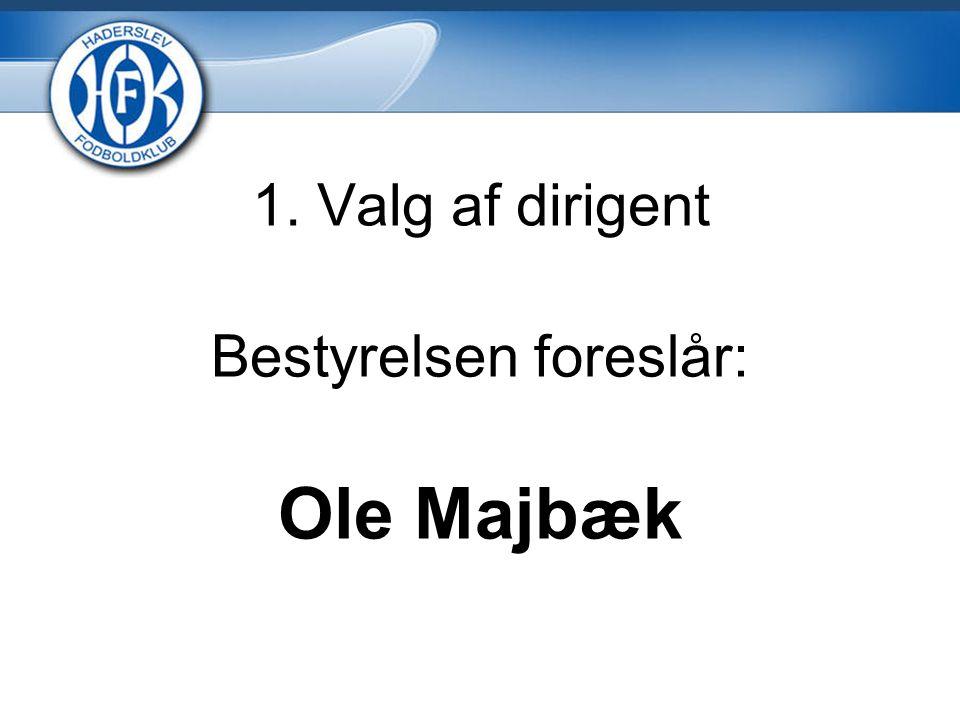 1. Valg af dirigent Bestyrelsen foreslår: Ole Majbæk