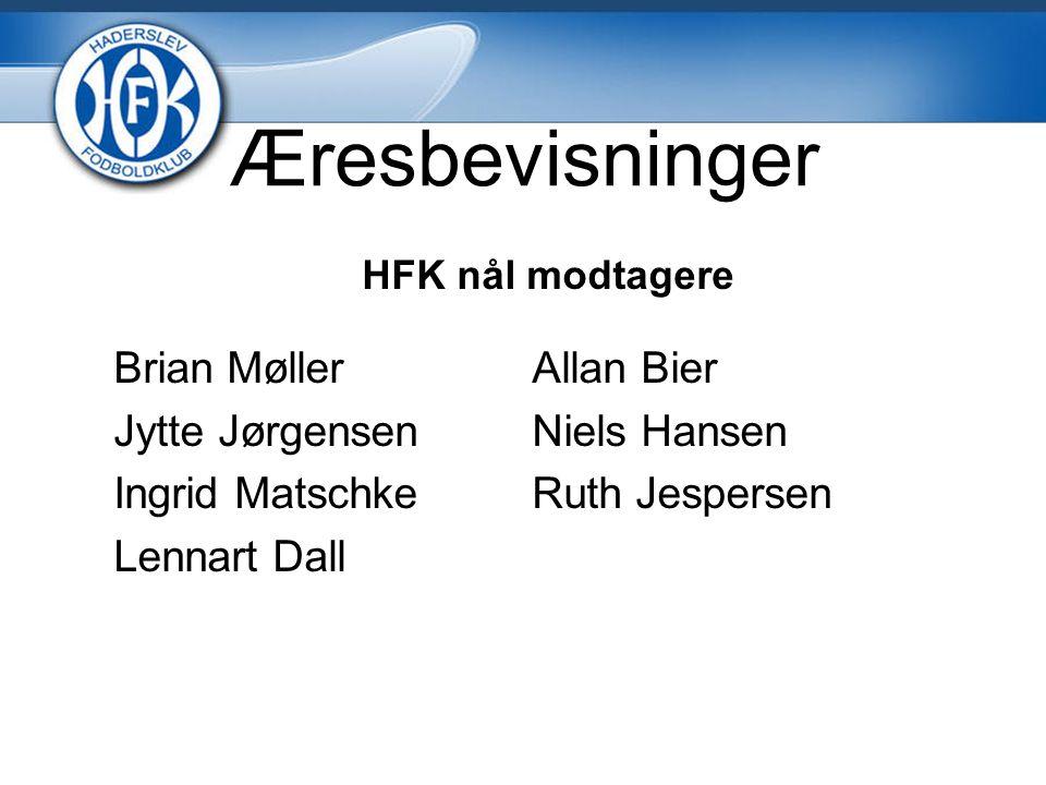 Æresbevisninger HFK nål modtagere Brian MøllerAllan Bier Jytte JørgensenNiels Hansen Ingrid MatschkeRuth Jespersen Lennart Dall