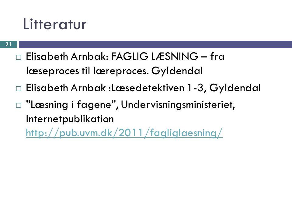 Litteratur  Elisabeth Arnbak: FAGLIG LÆSNING – fra læseproces til læreproces.