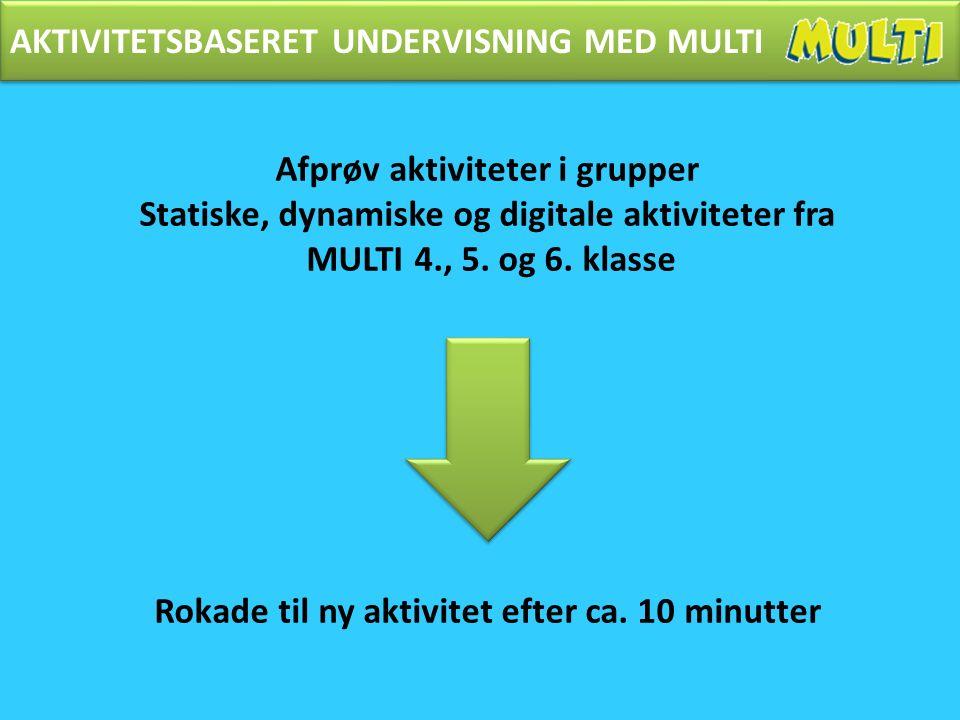 AKTIVITETSBASERET UNDERVISNING MED MULTI Afprøv aktiviteter i grupper Statiske, dynamiske og digitale aktiviteter fra MULTI 4., 5.