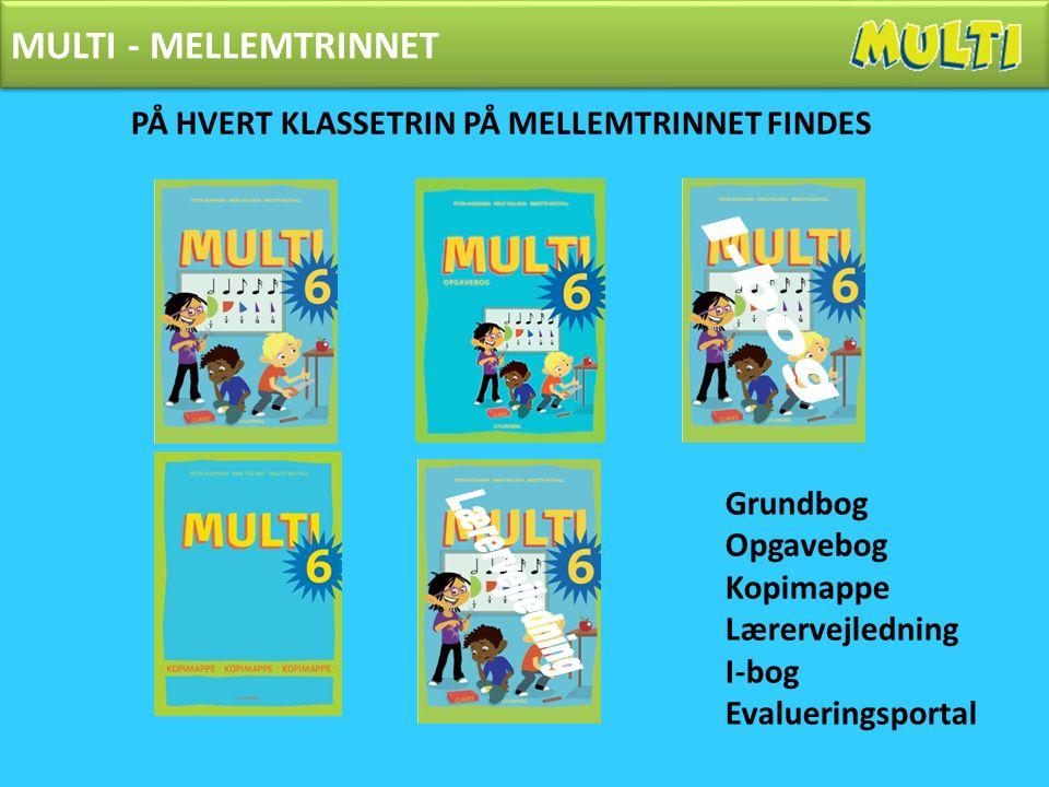 MULTI - MELLEMTRINNET PÅ HVERT KLASSETRIN PÅ MELLEMTRINNET FINDES Grundbog Opgavebog Kopimappe Lærervejledning I-bog Evalueringsportal MULTI - MELLEMTRINNET