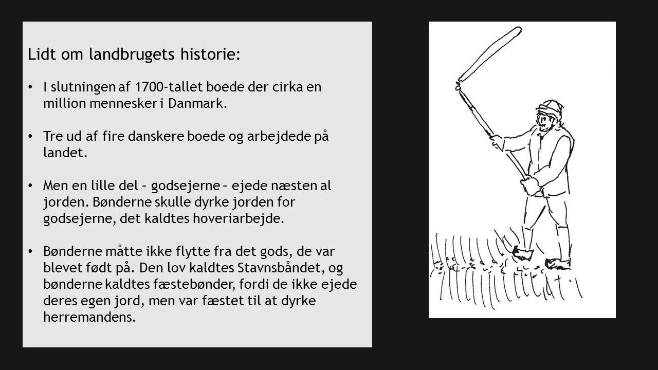 Lidt om landbrugets historie: I slutningen af 1700-tallet boede der cirka en million mennesker i Danmark.