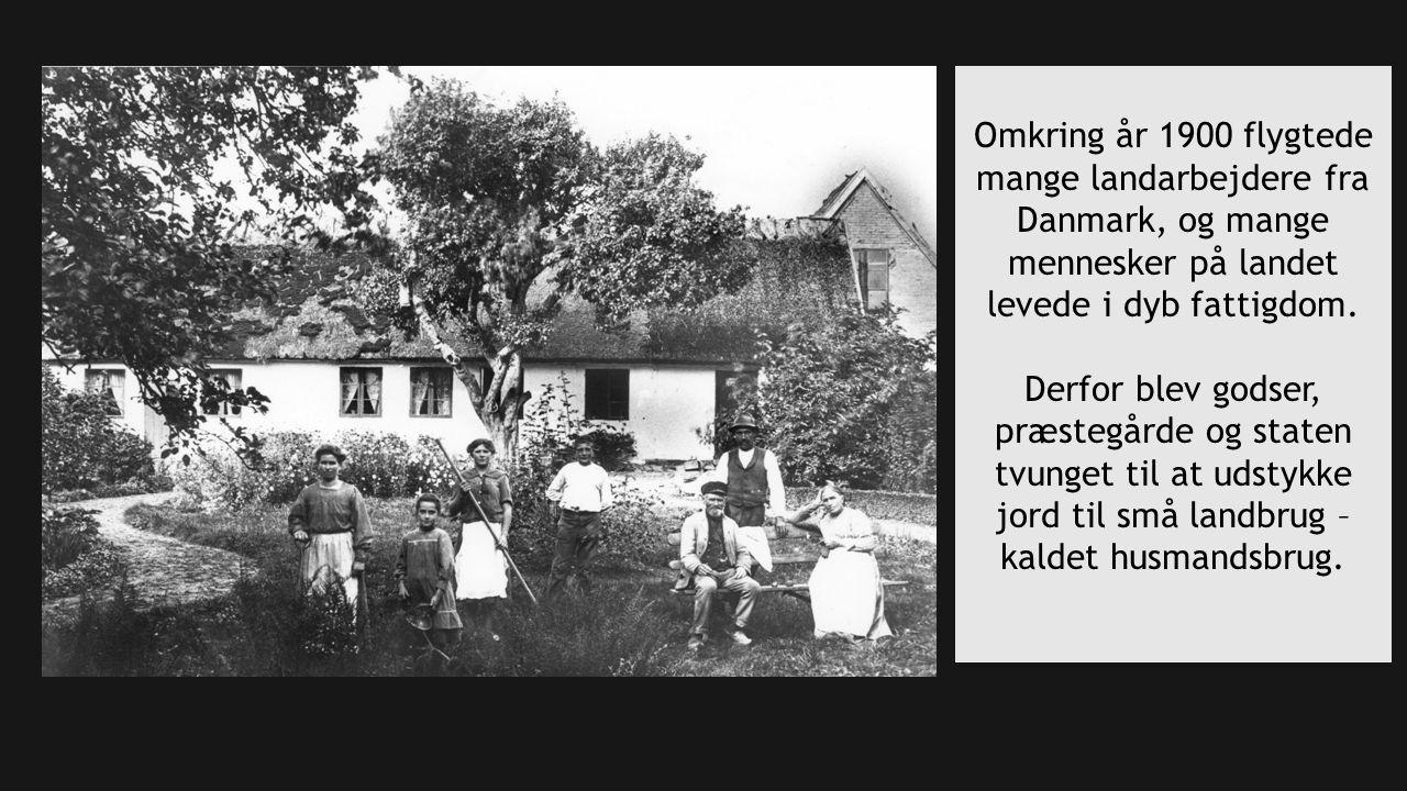 Omkring år 1900 flygtede mange landarbejdere fra Danmark, og mange mennesker på landet levede i dyb fattigdom.