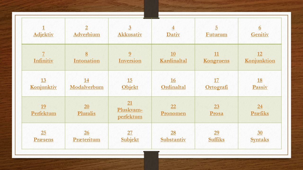 1 Adjektiv 2 Adverbium 3 Akkusativ 4 Dativ 5 Futurum 6 Genitiv 7 Infinitiv 8 Intonation 9 Inversion 10 Kardinaltal 11 Kongruens 12 Konjunktion 13 Konjunktiv 14 Modalverbum 15 Objekt 16 Ordinaltal 17 Ortografi 18 Passiv 19 Perfektum 20 Pluralis 21 Pluskvam- perfektum 22 Pronomen 23 Prosa 24 Præfiks 25 Præsens 26 Præteritum 27 Subjekt 28 Substantiv 29 Suffiks 30 Syntaks