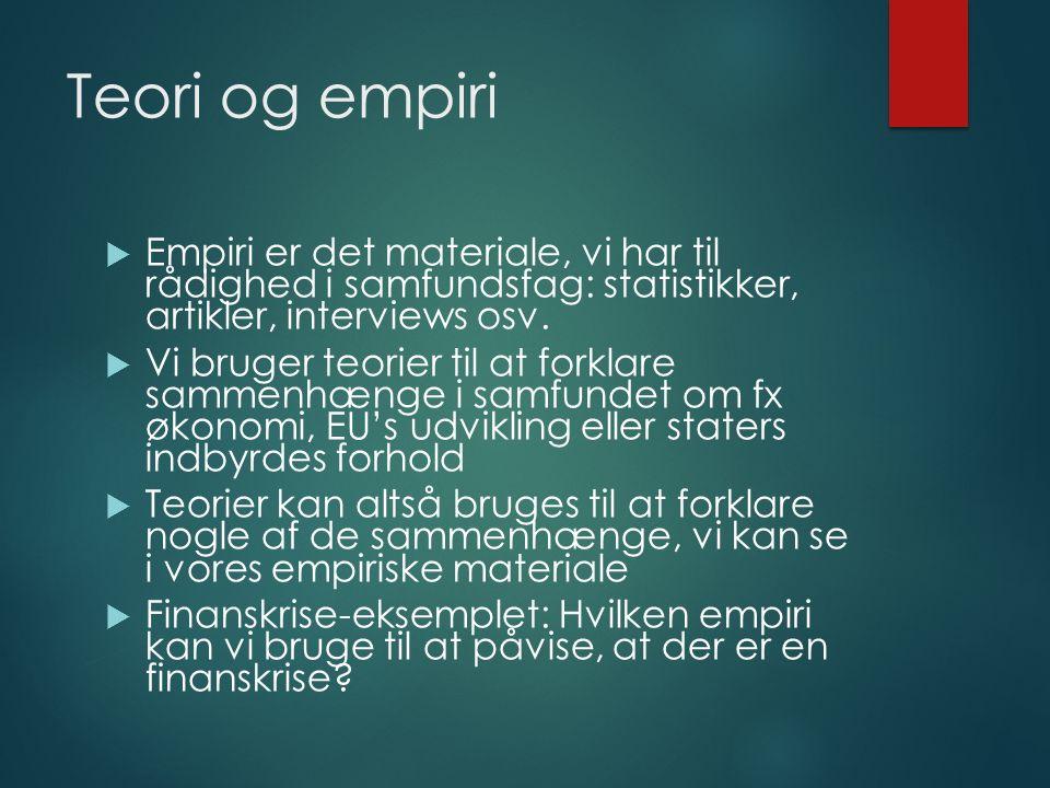 Teori og empiri  Empiri er det materiale, vi har til rådighed i samfundsfag: statistikker, artikler, interviews osv.