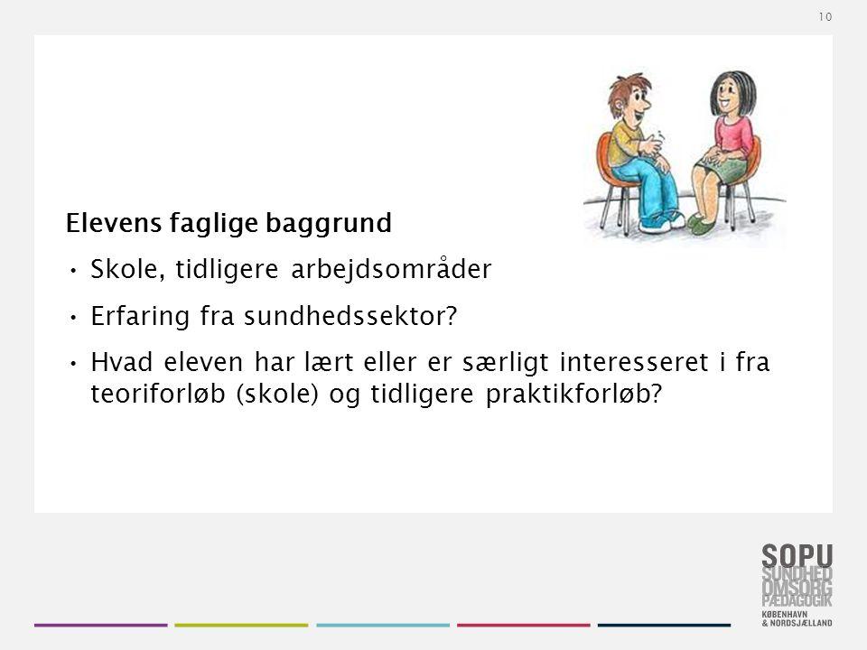 Tekstslide med bullets Brug 'Forøge / Formindske indryk' for at skifte mellem de forskellige niveauer Elevens faglige baggrund Skole, tidligere arbejdsområder Erfaring fra sundhedssektor.