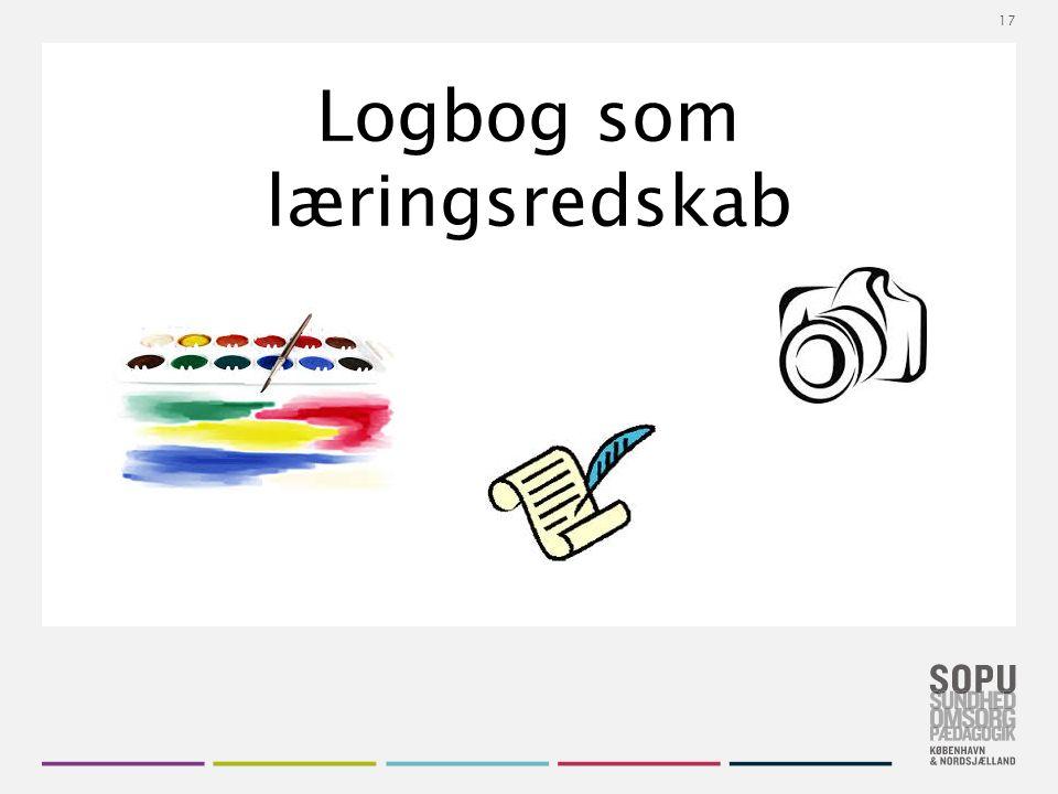 Tekstslide med bullets Brug 'Forøge / Formindske indryk' for at skifte mellem de forskellige niveauer Logbog som læringsredskab 17