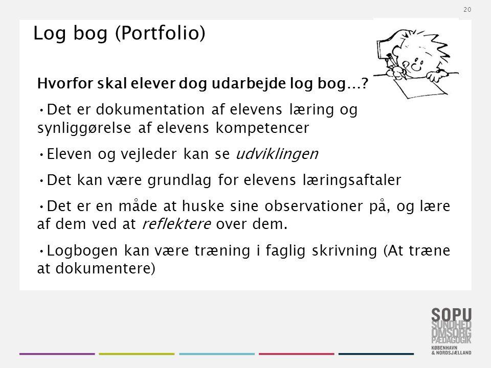 Tekstslide med bullets Brug 'Forøge / Formindske indryk' for at skifte mellem de forskellige niveauer Log bog (Portfolio) Hvorfor skal elever dog udarbejde log bog….