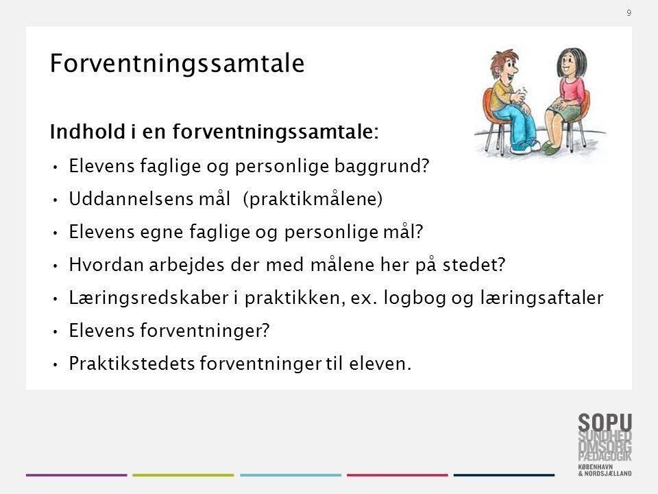 Tekstslide med bullets Brug 'Forøge / Formindske indryk' for at skifte mellem de forskellige niveauer Forventningssamtale Indhold i en forventningssamtale: Elevens faglige og personlige baggrund.