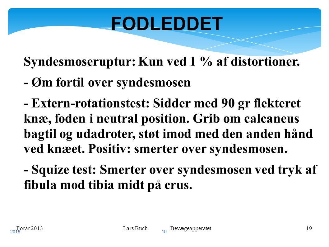 Forår 2013Lars Buch Bevægeapperatet19 FODLEDDET Syndesmoseruptur: Kun ved 1 % af distortioner.