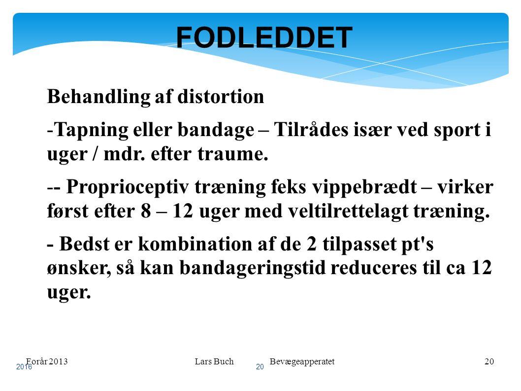 Forår 2013Lars Buch Bevægeapperatet20 FODLEDDET Behandling af distortion -Tapning eller bandage – Tilrådes især ved sport i uger / mdr.